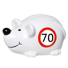 "Hranilnik, miška s prometnim znakom ""70"", polimasa, 10.5x5cm"