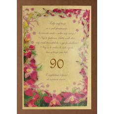 Diploma ROJSTNI DAN, Želje naj tvoje, orhideja, 90, (36x25cm)