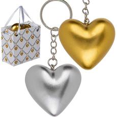 Obesek za ključe, srce srebrno/zlato v darilni vrečki, 4cm