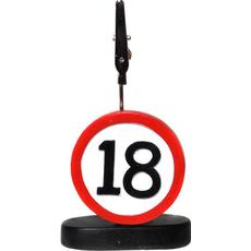"""Prometni znak iz polimase z kovinsko ščipalko """"18"""", 9cm"""