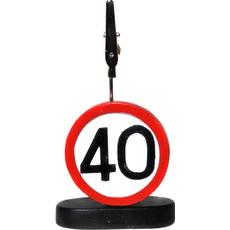 """Prometni znak iz polimase z kovinsko ščipalko """"40"""", 9cm"""