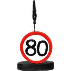 """Prometni znak iz polimase z kovinsko ščipalko """"80"""", 9cm"""