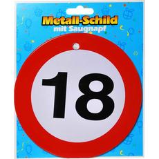 Prometni znak, kovinski,  s priseskom, 18, 15cm