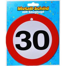 Prometni znak, kovinski,  s priseskom, 30, 15cm