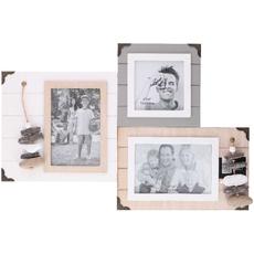 Okvir lesen z dekoracijo, za 3 slike, 1x 10x10cm/ 2x 15x10cm, 45.5x30, sort.