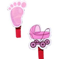 Lesena ščipalka, za rojstvo, za punce, voziček/nogica, 4-5cm