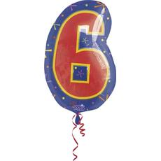 """Balon napihljiv, za helij, številka """"6"""", 53x35cm"""
