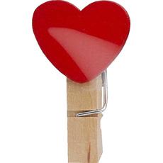 Dekorativni leseni srček na leseni ščipalki, 3.5cm