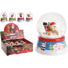 Snežna krogla z božično figurico, 4,5cm, sort.