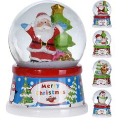 Snežna krogla z božično figurico, 6.5cm, sort.
