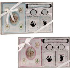 Darilni set za rojstvo otroka, (okvir za slike in odtise rok, nog, škatlici za prvi zob in lase, škatlica za rojstni list)