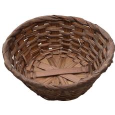 Dekorativna košarica iz bambusa, okrogla, temno rjava, 14cm