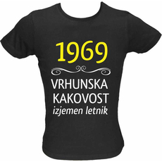 Majica ženska (telirana)-1969, vrhunska kakovost, izjemen letnik L-črna
