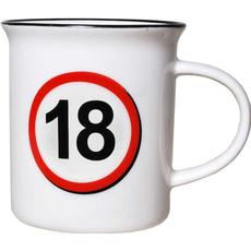 """Lonček, prometni znak, """"18"""", porcelan, 9cm"""