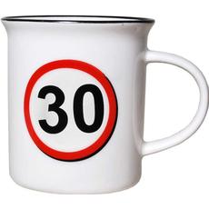 """Lonček, prometni znak, """"30"""", porcelan, 9cm"""