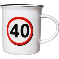 """Lonček, prometni znak, """"40"""", porcelan, 9cm"""