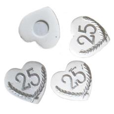 Srček, s srebrno številko 25, polimasa, 3cm