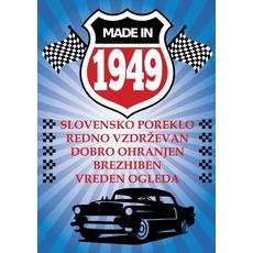 {[sl]:Voščilo, čestitka - modra, avto, made in 1949 - bleščice/z