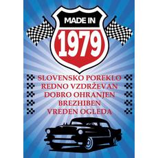 {[sl]:Voščilo, čestitka - modra, avto, made in 1979 - bleščice/z