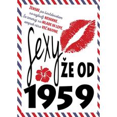 {[sl]:Voščilo, čestitka - ustnice, sexy že od 1959 - bleščice/zl