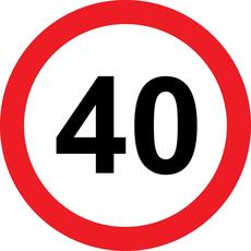 Prometni znak 40 let - 37cm, Arma