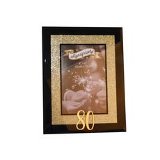 Okvir za sliko, steklen z zlatimi bleščicami, 80 let, dim. 10x15cm