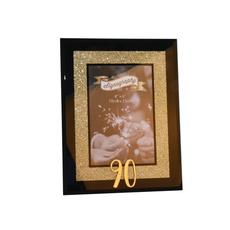 Okvir za sliko, steklen z zlatimi bleščicami, 90 let, dim. 10x15cm