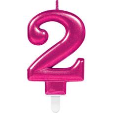 """Sveča za torto v obliki številke,""""2"""", roza, 9cm"""