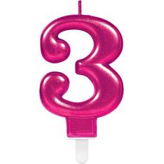 """Sveča za torto v obliki številke,""""3"""", roza, 9cm"""