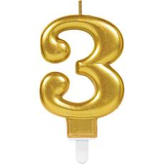 """Sveča za torto v obliki številke,""""3"""", zlata, 9cm"""