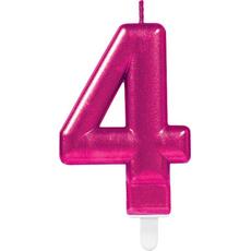 """Sveča za torto v obliki številke,""""4"""", roza, 9cm"""