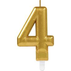 """Sveča za torto v obliki številke,""""4"""", zlata, 9cm"""