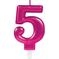 """Sveča za torto v obliki številke,""""5"""", roza, 9cm"""
