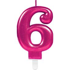 """Sveča za torto v obliki številke,""""6"""", roza, 9cm"""