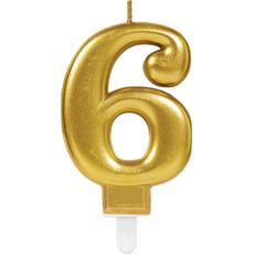 """Sveča za torto v obliki številke,""""6"""", zlata, 9cm"""