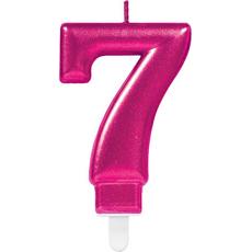 """Sveča za torto v obliki številke,""""7"""", roza, 9cm"""