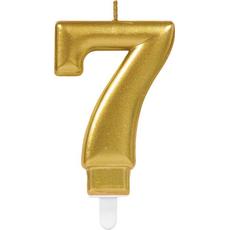 """Sveča za torto v obliki številke,""""7"""", zlata, 9cm"""