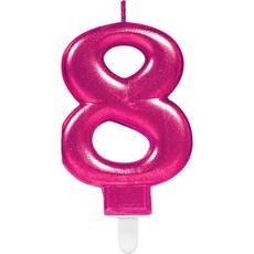 """Sveča za torto v obliki številke,""""8"""", roza, 9cm"""