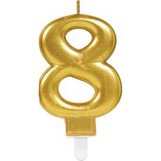 """Sveča za torto v obliki številke,""""8"""", zlata, 9cm"""