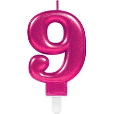 """Sveča za torto v obliki številke,""""9"""", roza, 9cm"""