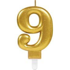 """Sveča za torto v obliki številke,""""9"""", zlata, 9cm"""