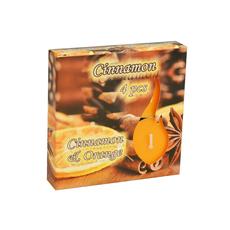 Sveča čajna, dišeča, cimet in oranža, 38 g, 4 kos