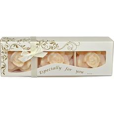 Sveča dišeča, oblika cveta, dekorativna, bež, 7x7cm