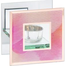 Svečnik za čajno lučko, steklen, roza, 11x6x11cm