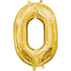 """Balon napihljiv, """"0"""", zlati, 40cm + palčka za napihnit"""
