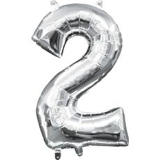"Balon napihljiv, ""2"", srebrni, 40cm + palčka za napihnit"