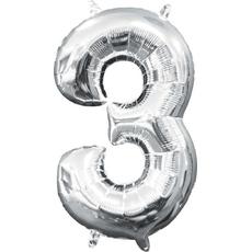 "Balon napihljiv, ""3"", srebrni, 40cm + palčka za napihnit"