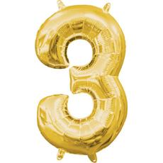 """Balon napihljiv, """"3"""", zlati, 40cm + palčka za napihnit"""