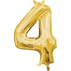 """Balon napihljiv, """"4"""", zlati, 40cm + palčka za napihnit"""
