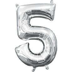 "Balon napihljiv, ""5"", srebrni, 40cm + palčka za napihnit"